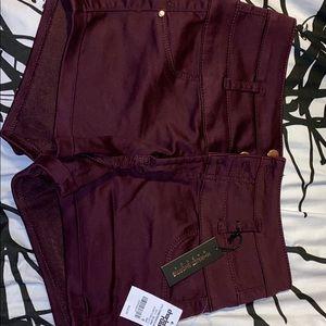 Burgundy high waist shorts